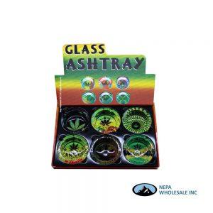 Glass Ashtray 90mm Leaf Rasta 6CT