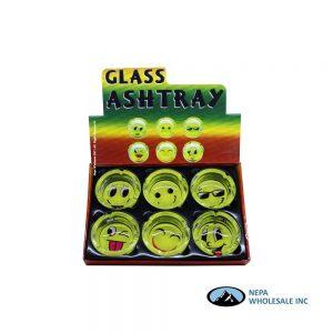 Glass Ashtray 90mm Emoji 6CT