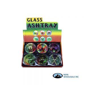 Glass Ashtray 90mm Leaf 6CT