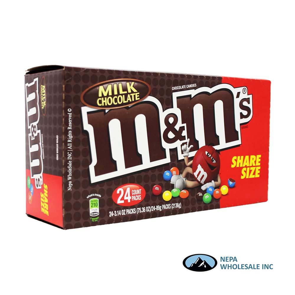 M M 24 3 14 Oz Milk Chocolate Sharing Size 040000044314 Nepa Wholesale Inc
