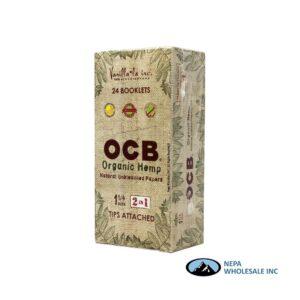 OCB Organic Hemp 1 1/4 Tips Attached 24 Booklets