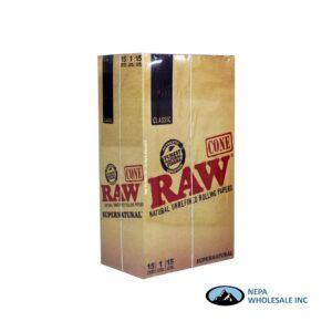 Raw Classic Cone Super Natural 15 Packs per Box