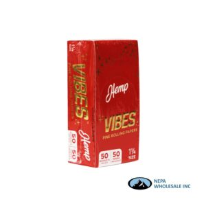 Vibes Hemp 1 1/4 Red 50 Booklets Per Box