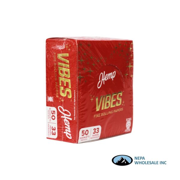 Vibes Hemp King Size Red 50 Booklets Per Box