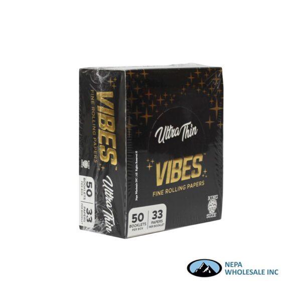 Vibes Ultra Thin King Size Black 50 Booklets Per Box