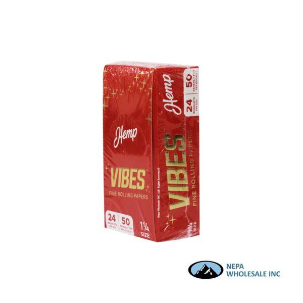 Vibes Hemp 1 1/4 Red 24 Booklets Per Box