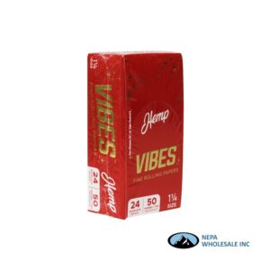 Vibes Hemp 1 1/4 Red 24 Booklets Per Box