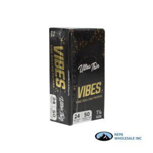 Vibes Ultra Thin 1 1/4 Black 24 Booklets Per Box