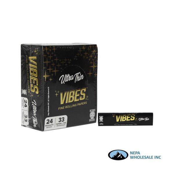 Vibes Ultra Thin King Size Black 24 Booklets Per Box