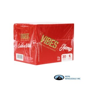 Vibes Hemp 1 1/4 Red Cones 30 Packs Per Box