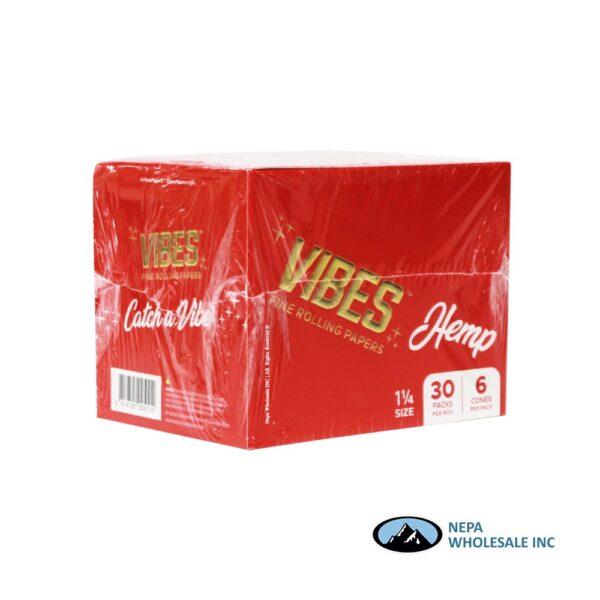 Vibes Hemp 1 1/4 Red Cones 30 Packs Per Box