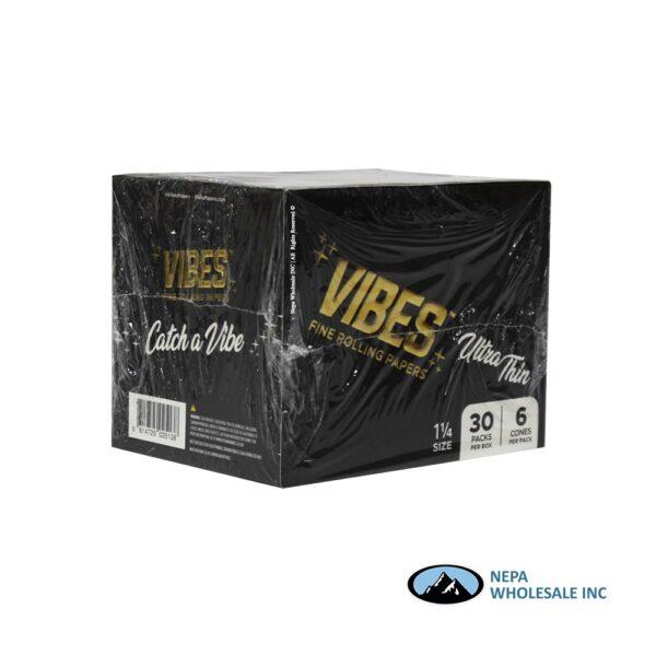 Vibes Ultra Thin 1 1/4 Black Cones 30 Packs Per Box