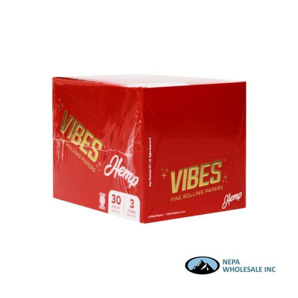 Vibes Hemp King Size Red Cones 30 Packs Per Box