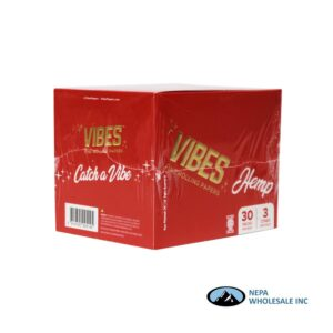 Vibes Hemp King Size Red Cones 30 Packs Per Box