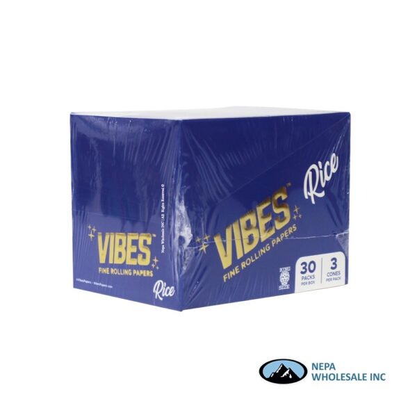 Vibes Rice King Size Blue Cones 30 Packs Per Box
