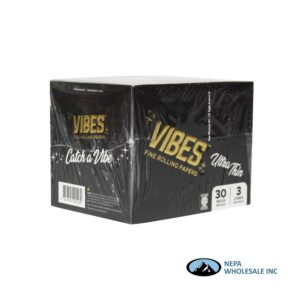 Vibes Ultra Thin King Size Black Cones 30 Packs Per Box