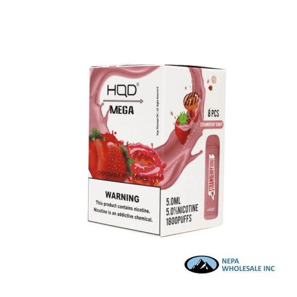 HQD Mega 5% Strawberry Donut 1X8PK Disposable