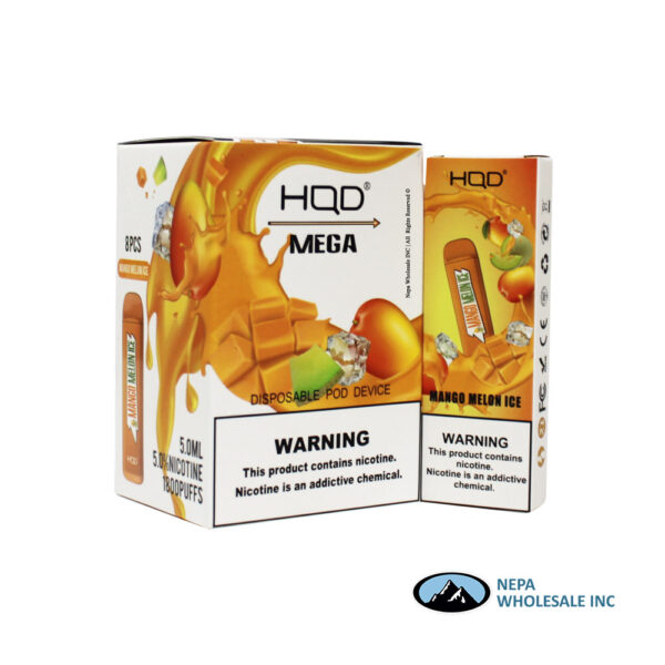 HQD Mega 5% Mango Melon Ice 1X8PK Disposable