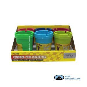 Plastic Bucket Car Ashtray Multi Color 6Ct