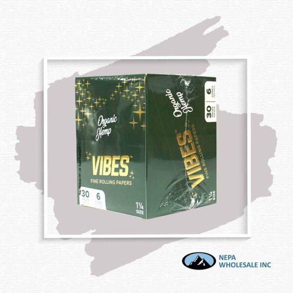Vibes Organic 1 1/4 Black Cones 30 Packs Per Box