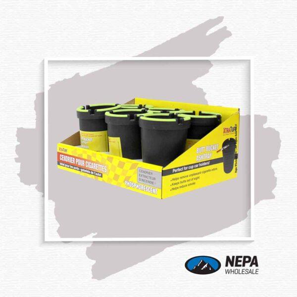 Plastic Bucket Car Ashtray Black 6Ct